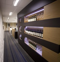 new office hallway fitout with wine cellar