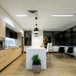 black and white office kitchen