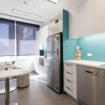blue office kitchen