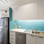 office kitchen with blue splashbacks