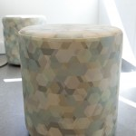 Poufs with colourful hexagon pattern