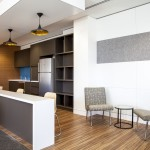 office kitchen fitout with copper light shades