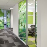 Greenery design on glass panels