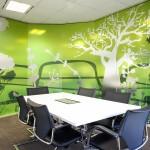 Greenery design on glass panels