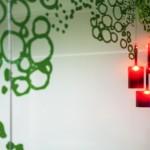 Green design on glass panels