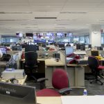 Newsroom overview of desks