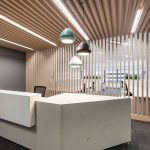 wood wall design and reception desk