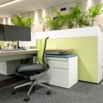 Green desk area