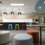 office kitchen with coloured stools