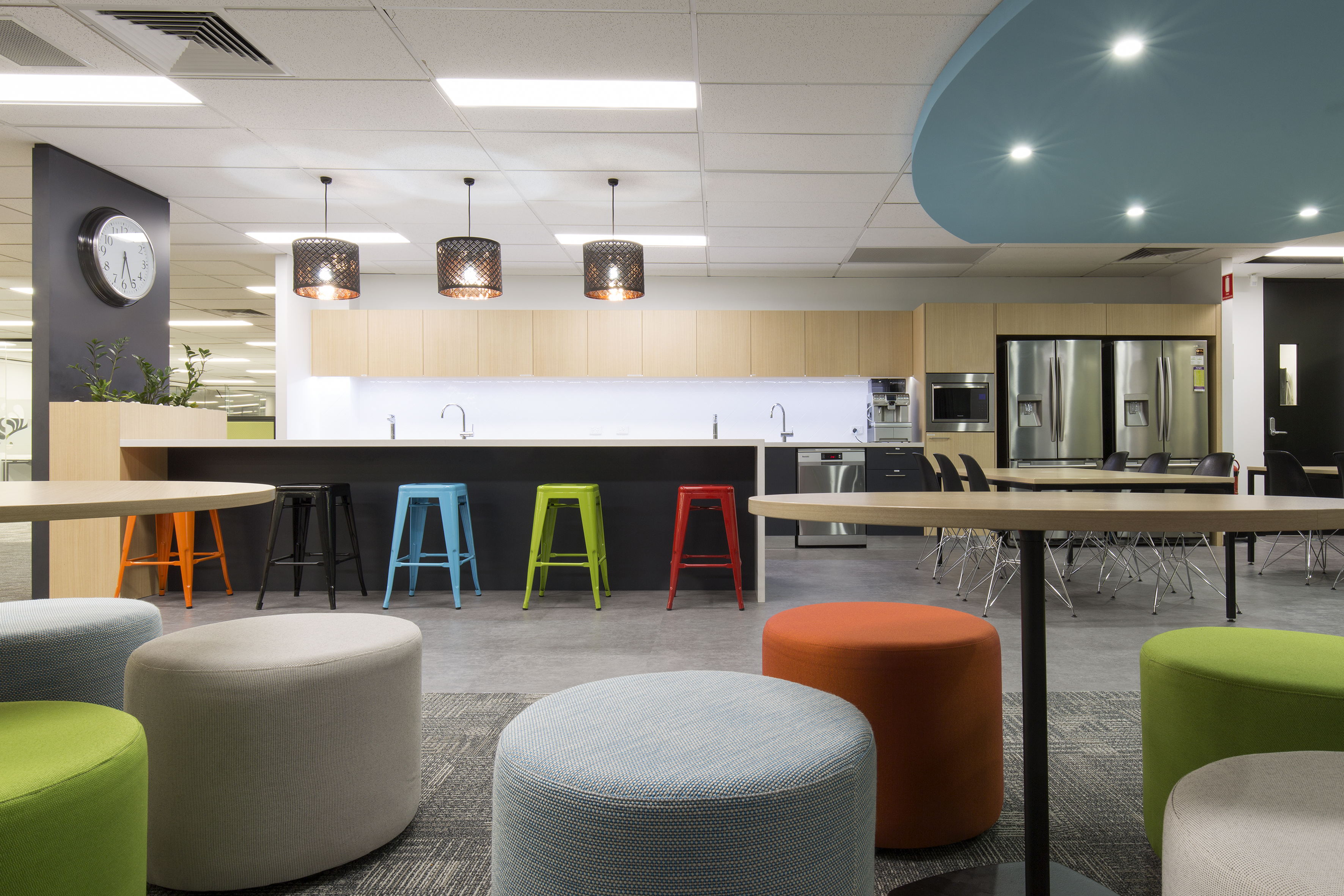 multi coloured office breakout space