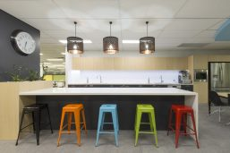 office kitchen with multi coloured stools