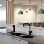 office kitchen with green low lights