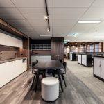 office kitchen and desks